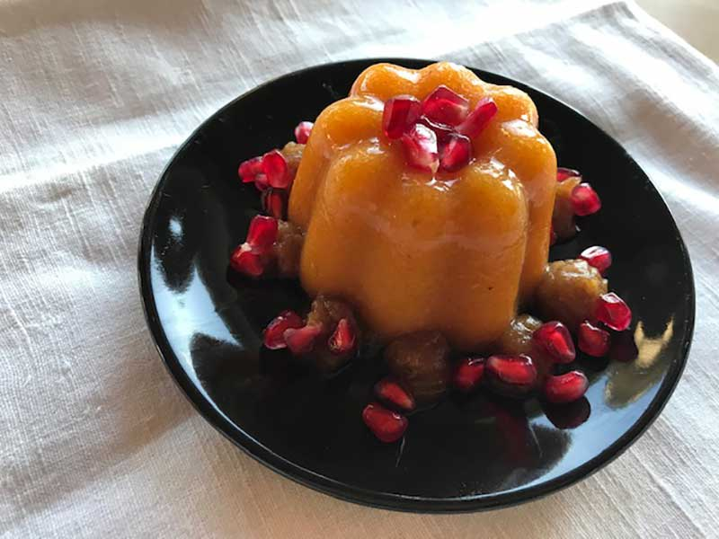 Kaki-Pudding mit Dattel-Tonka-Creme – fettfrei
